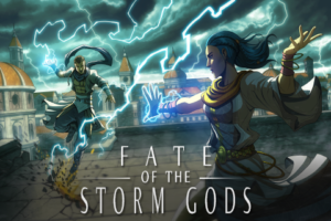 Image of two people on a rooftop in what seems to be a renaissance era city. The two appear to be directing lightning at one another. The sky above them is stormy.